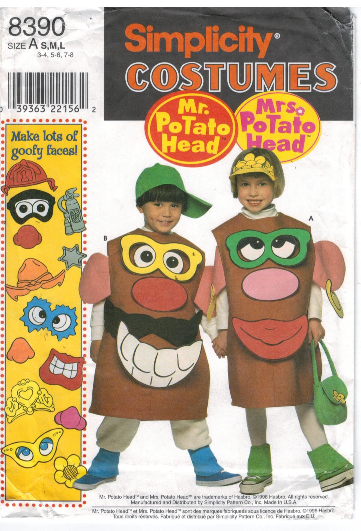 Simplicity Pattern 8390 Mr Potato Head And Mrs Potato Head Costumes For Children Sizes 3 4 Through 7 8