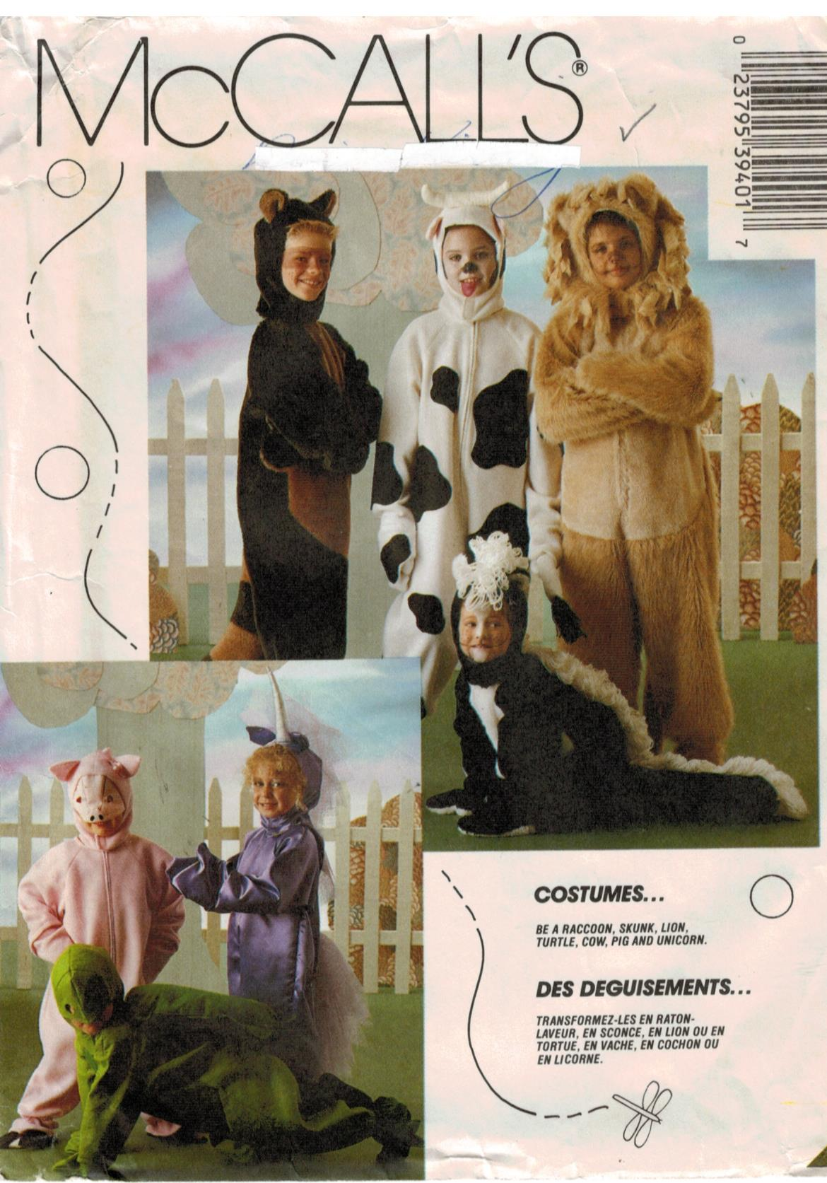 Cow sewing pattern heaven mccalls pattern 3940 animal costume patterns for kids raccoon skunk lion turtle cow pig unicorn size 2 4 jeuxipadfo Images