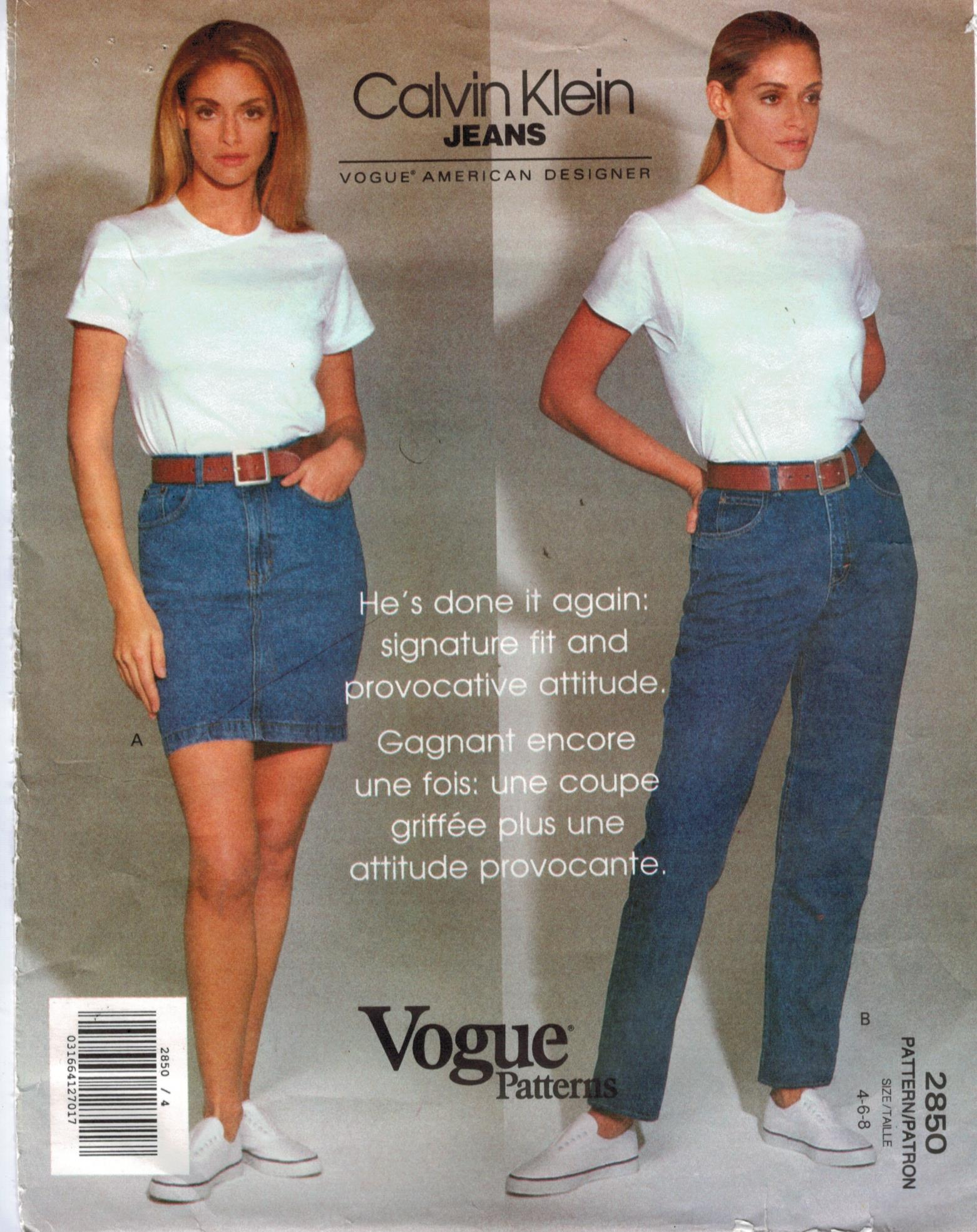 70977a70b77 Vogue Pattern 2850 Calvin Klein Designer Jeans and Skirt sizes 4-6-8 ...