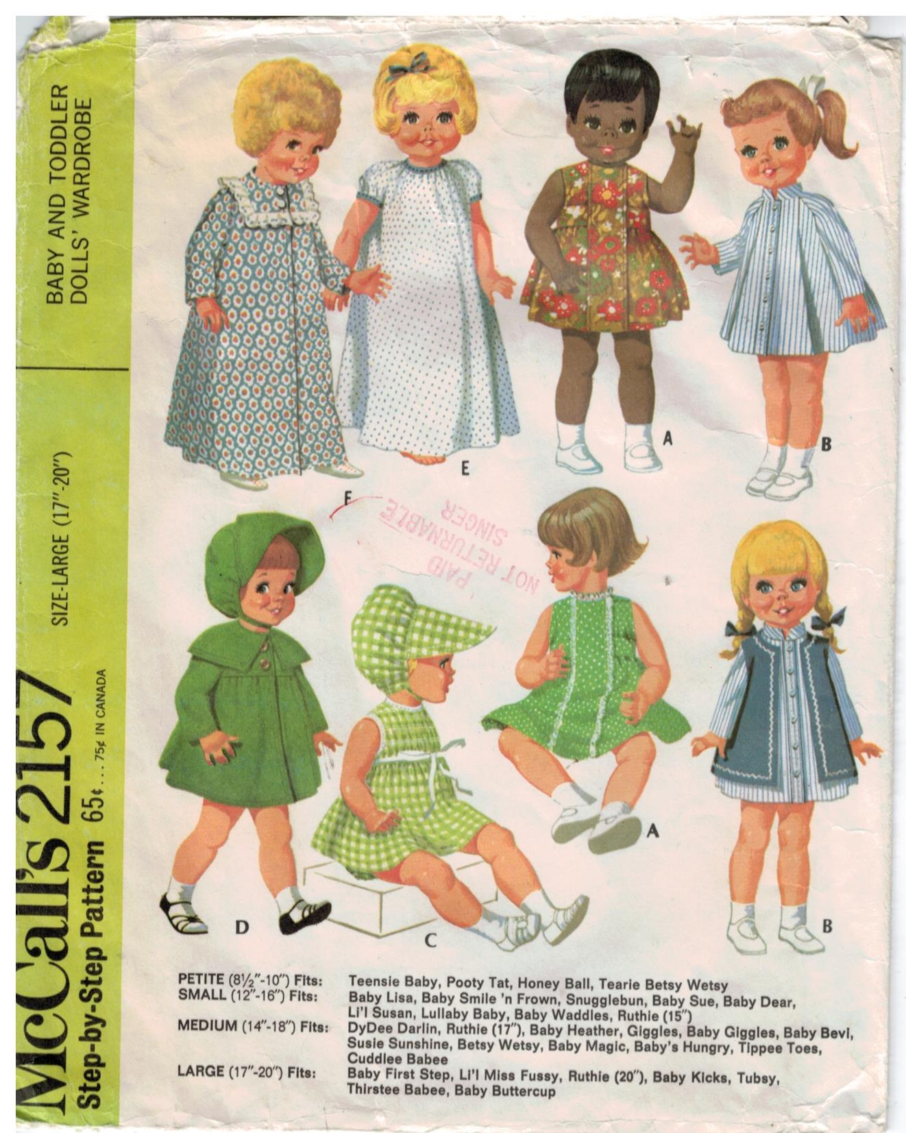 Mccalls Pattern 2157 Vintage Baby And Toddler Doll Clothes