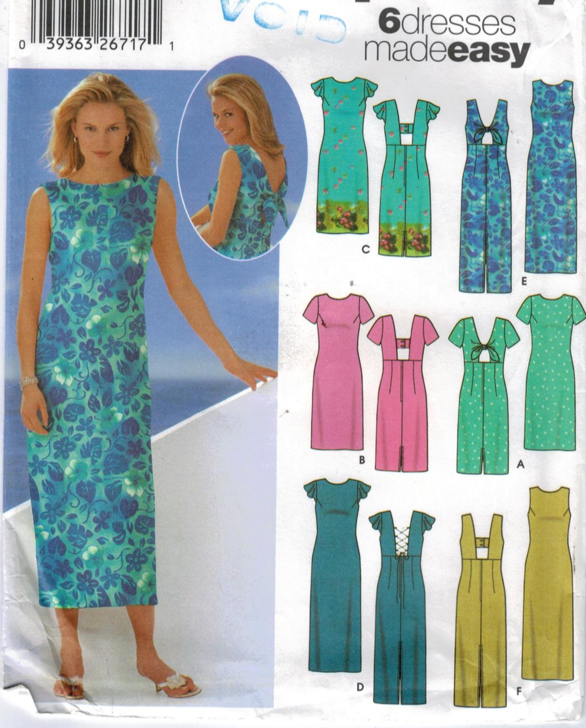 51723235784 Simplicity Pattern 5496 Misses casual sundresses six styles sizes 14 ...