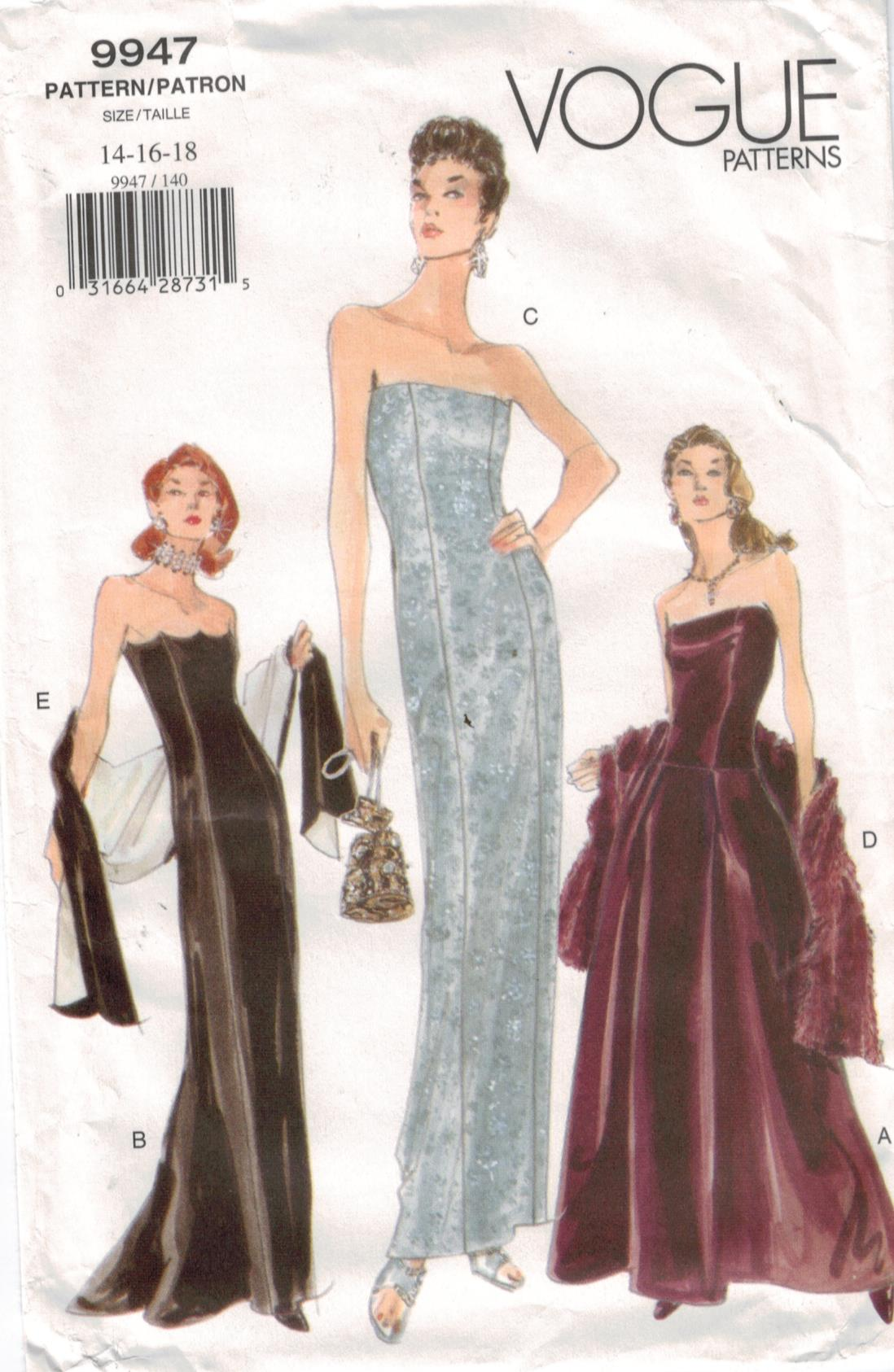 Vogue Pattern 9947 Misses Full Length Formal Gowns With