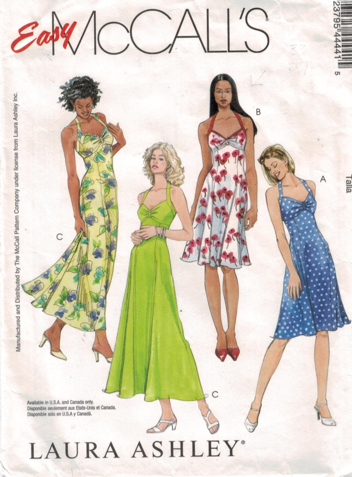 f256c4f66a03 McCalls Pattern 4444 Laura Ashley Designer dresses, size 4, 6, 8 and 10