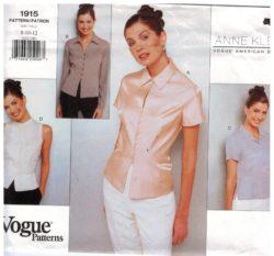 3602d6a428a Vogue Pattern 1915 Anne Klein II Designer Blouse tops