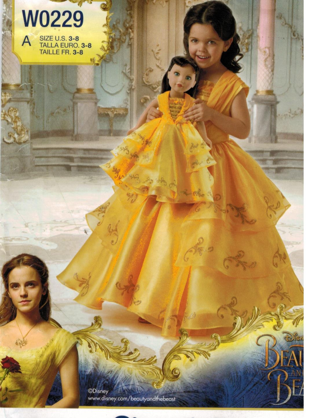 Simplicity Pattern 8405 Disney Princess Belle Beauty And The Beast Costume For Girls Size 3 8 And 18 Dolls Sewing Pattern Heaven