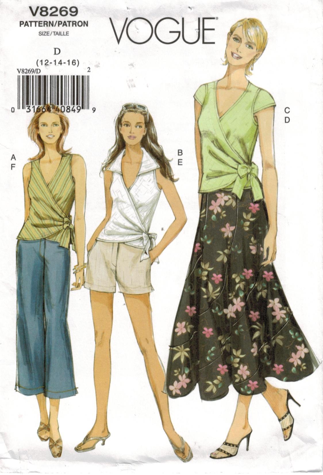 13ea8f5ec23ab Vogue Pattern 8269 Misses sportswear wardrobe – wrap top, skirt, shorts and  capri pants sizes 12, 14, 16