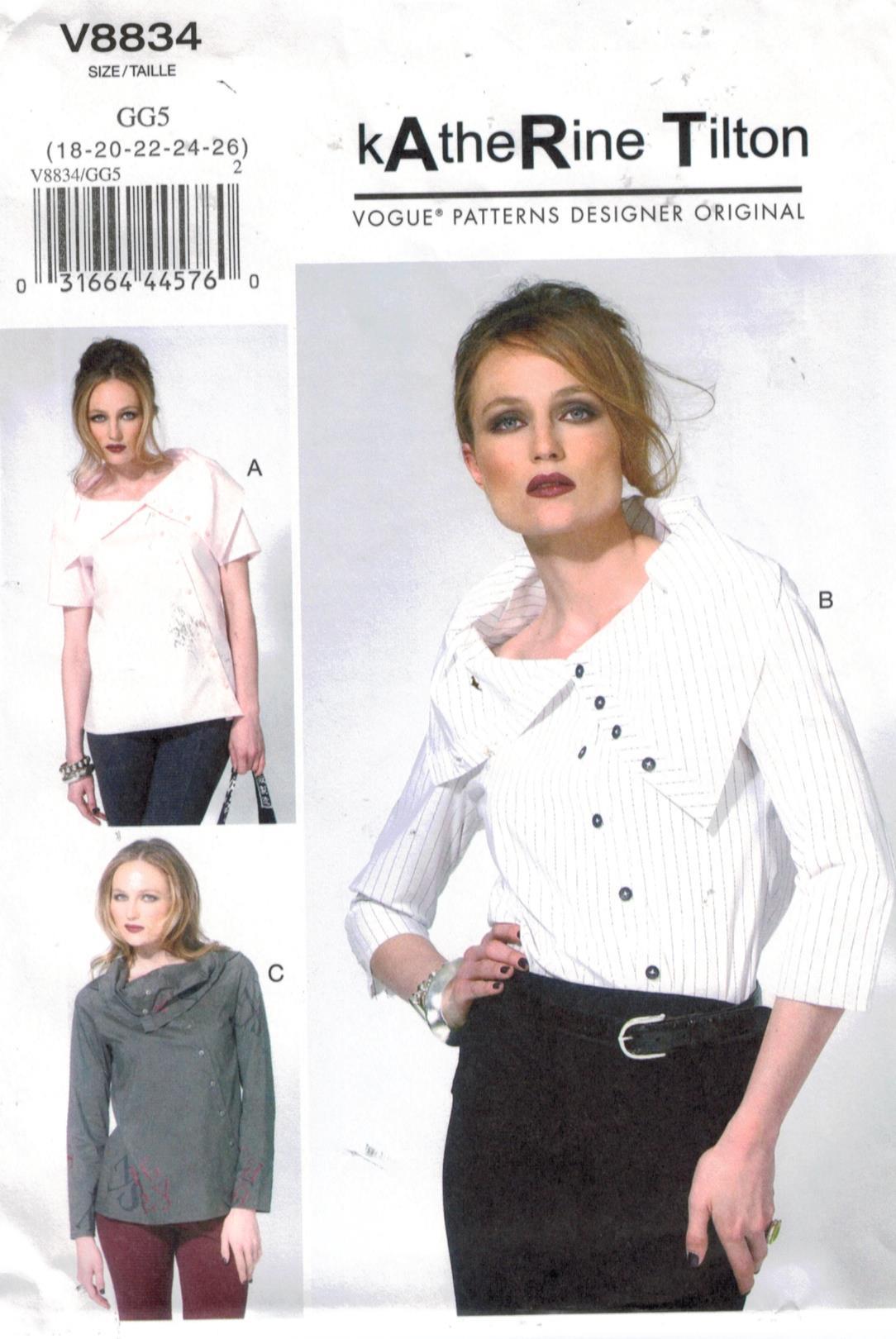 7f75dda864cc9 Vogue Pattern 8834 Katherine Tilton designer original blouses sizes 18 ...