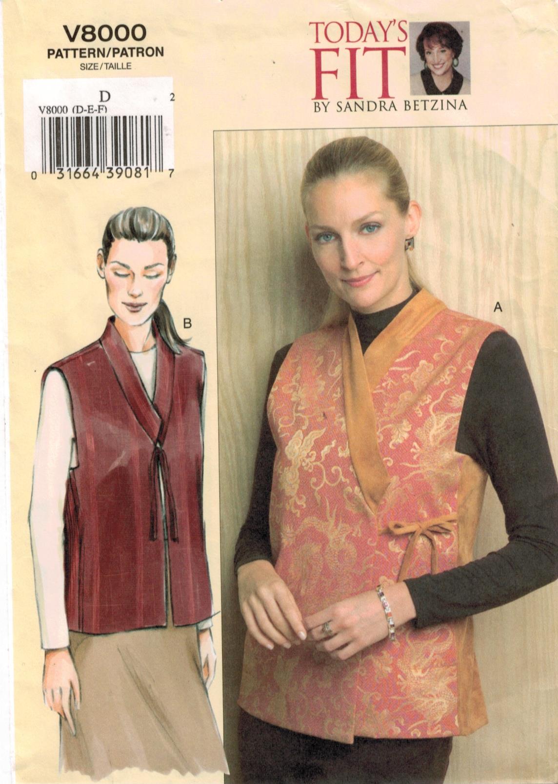 Vogue V1541 hoy Fit Sandra betzina patrón extraña Vestido Y Camisa Todas las Tallas BN